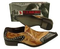 Fiesso Black Brown Patent Leather Metal Tip & Studs Slip On Shoes Fi 6757