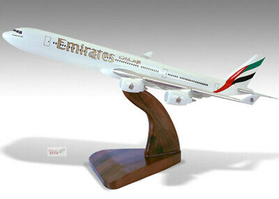 100% Quality Airbus A340-600 Emirates Solid Kiln Dried Mahogany Wood Handmade Desktop Model Elegant And Sturdy Package Transportation Collectables Models