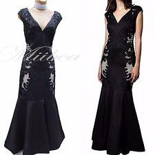 Phase Eight Black Anne Cutwork Beaded Wedding Cocktail Long Maxi Dress 8-10 UK