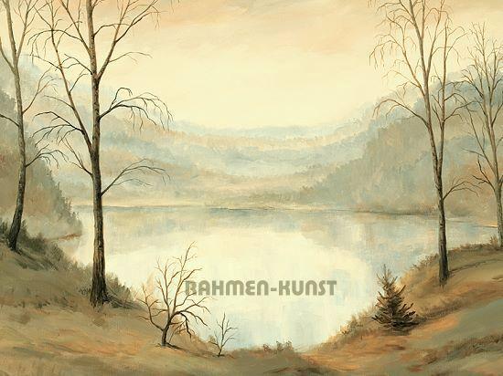 Andres  Lichtung am See I Nebel 55x75 Keilrahmen-Bild
