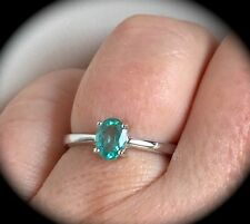 """NATURAL EMERALD SILVER RING PREMIUM QUALITY SIZE Q """"CERTIFIED"""" FAB COLOUR! BNWT"""