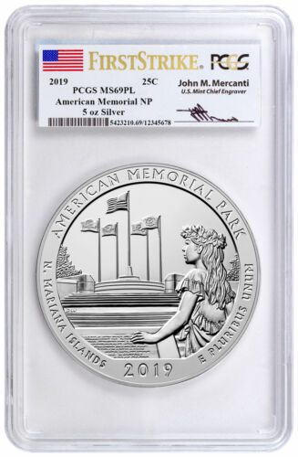 2019 Memorial Park 5 oz Silver ATB Coin PCGS MS69 PL FS Mercanti Signed SKU57706