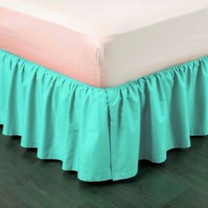 1-SEA-AQUA-SOLID-DRESSING-BED-SKIRT-PLEATED-WITH-OPEN-CORNERS-14-034-INCH-DROP-NEW