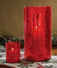 RED MERCURY GLASS VOTIVE HOLDER PARK DESIGNS 4 INCHES HIGH