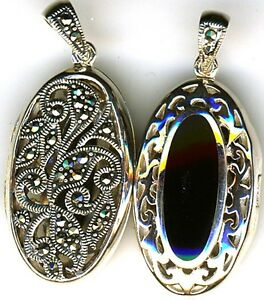 925-Sterling-Silver-Black-Onyx-amp-Marcasite-Oval-Locket-Pendant-Reversible-2-side