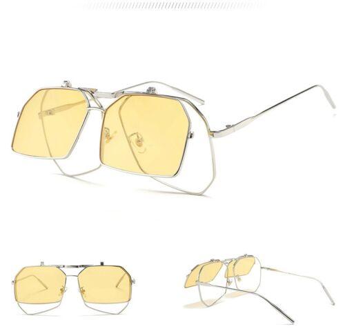 2019 Shades Steampunk Women Sunglasses Retro Vintage  Double Lens Flip Up Sun UV
