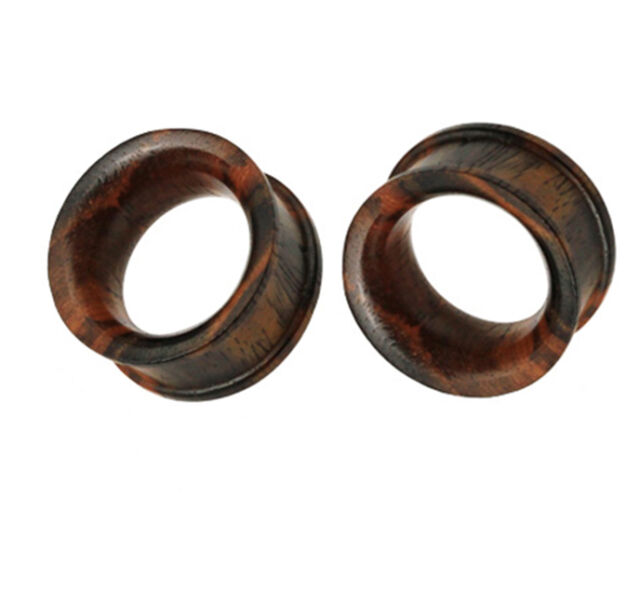 """2/"""" Earlet Gauge E140 Pair Solid Brown Sono Wood Ear Plugs Saddle Tunnel 2g 2"""