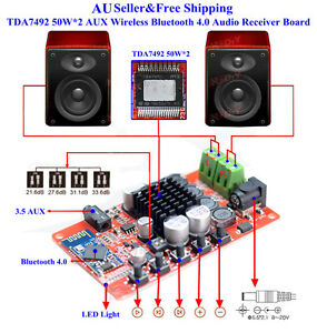 AU-TDA7492-50W-2-AUX-Wireless-Bluetooth-4-0-Audio-Receiver-Digital-Amplifier-Boa