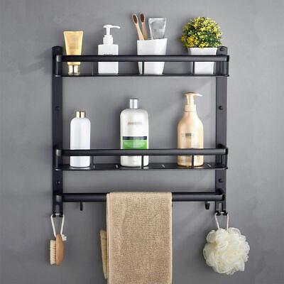 Bathroom Black Shelf Aluminum Shower Caddy Corner Shelves Bath Towel Rack Ebay