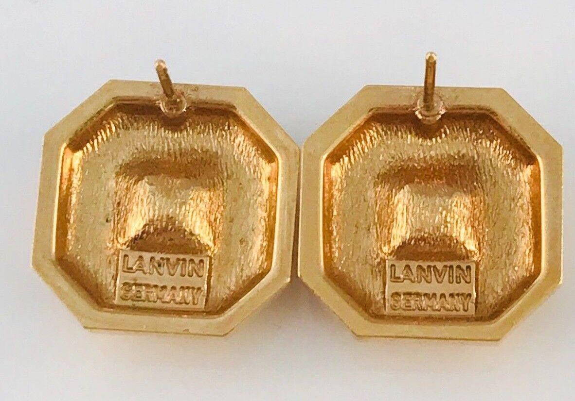 Vintage Lanvin Gold Tone and hematite Square earr… - image 8