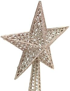 Christmas-Tree-Topper-Star-Decoration-Treetop-Ornaments-Rose-Gold-Glitter-26cm