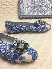 New DOLCE GABBANA Blue Majolica Embellished Jewel Crystal Shoes Pumps Ballerina