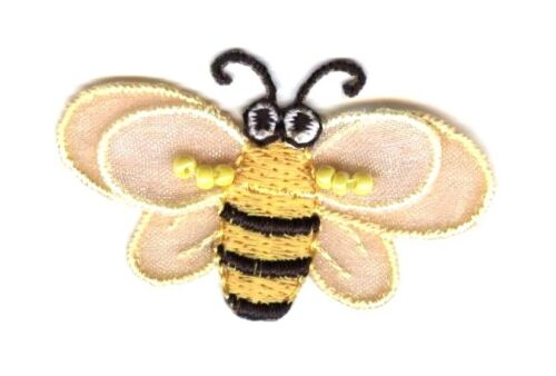 Yellow//Black SMALL Sheer Layered Bumble Bee Iron on Applique//Embroidered Patch