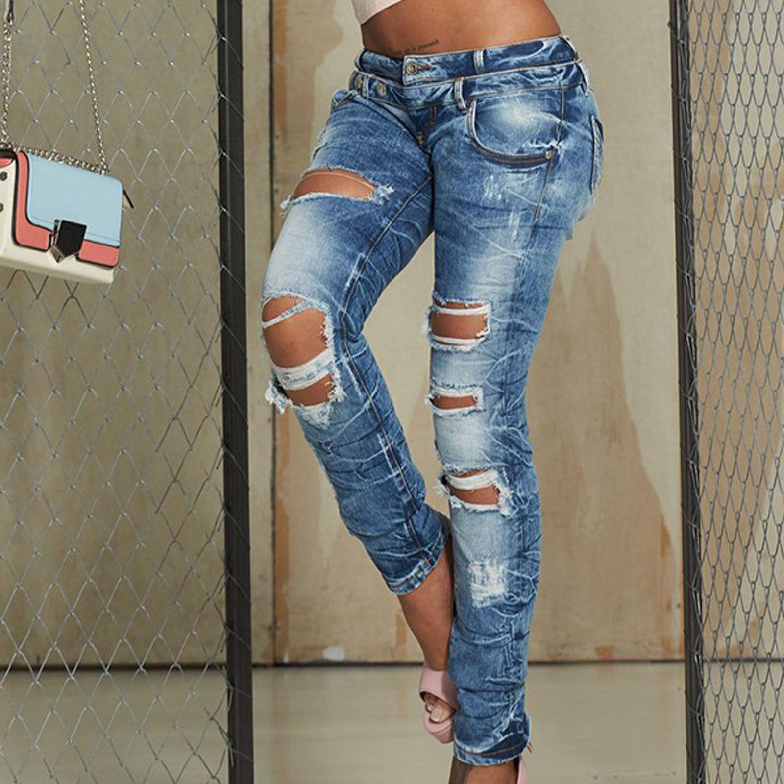 BY ALINA Damenhose Stretchjeans Röhrenjeans Desroyed Jeans Hose Löcher 36 S