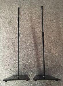 ADJUSTABLE-METAL-GLASS-SPEAKER-STANDS-2-Stands-Black