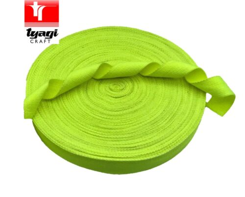 Polycotton Fluoro GREEN Tape Webbing Poly Cotton 35mm Bag Strap Sport Gym Bright