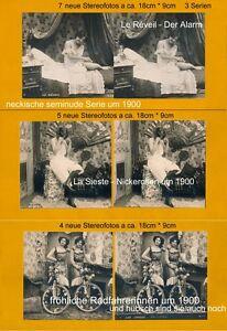 Frugal 16 Photos Stéréo, 3 Etages Semi Nude Chambre Pour 1900, Vélo Girls Lot 11-afficher Le Titre D'origine