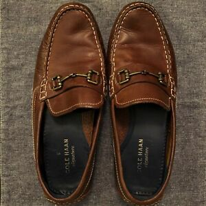 Cole-Haan-Signature-Grand-Os-Brown-Leather-Penny-Loafers-Driving-Shoes-Size-9