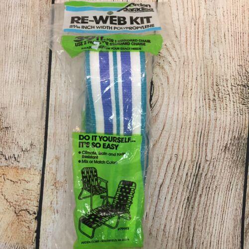 Arden Paradise 39 Feet Re-Web Kit Lawn Chair Chaise Blue White #79992