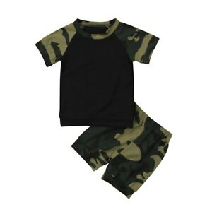 Baby-Boy-Camo-Khaki-Army-Casual-T-Shirt-Tee-Top-and-Shorts-Outfit-3-6-6-9m