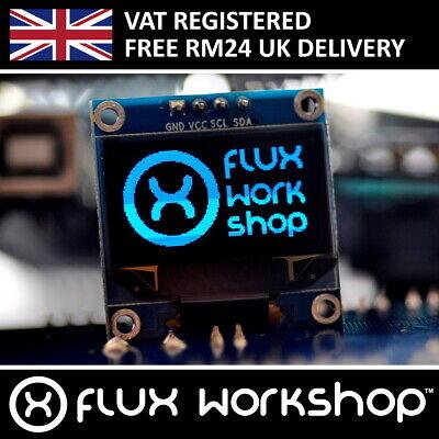 "0.96/"" 128x64 Blue OLED Display Module Arduino I2C Monitor Flux Workshop"