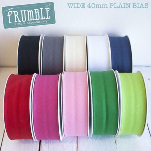 Wide 40mm Plain Bias Binding Tape Trim 5m//25m Wholesale Rainbow Colours