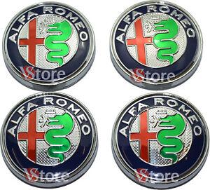 4-Tappi-Coprimozzo-ALFA-ROMEO-Giulietta-159-146-147-Brera-CERCHI-60mm-Green