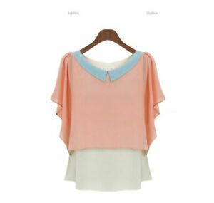Short-Sleeve-Top-Loose-New-T-Shirt-V-Neck-Blouse-Pullover-Casual-O-Neck-Jumper