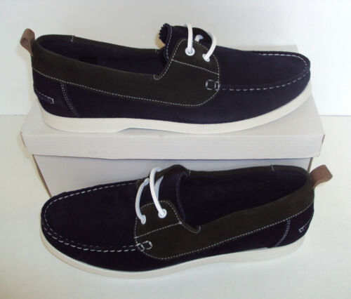 made in Portugal Mens Leather Shoes Navy Green Boat Deck Lace Up Size 7