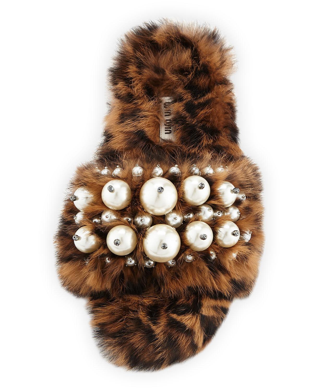 Miu Miu Pearly Fur Slide Sandals, Sandals, Sandals, Leopard Storlek 37.5 MSRP   990.00  ej att förglömma!