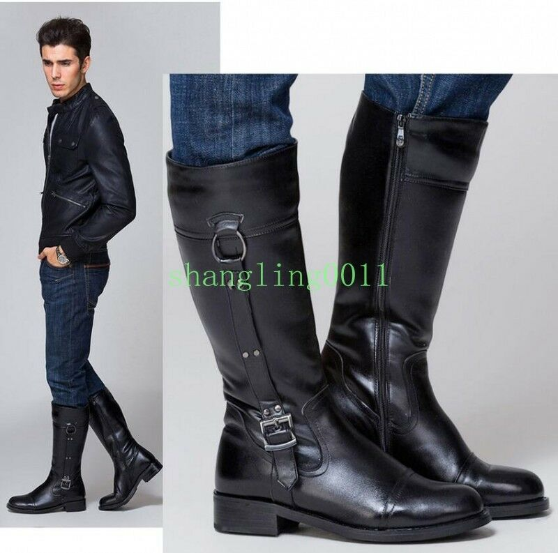 Mens Real leather Fashion Riding Equestrian honour guard ARMY LONG boots shoes