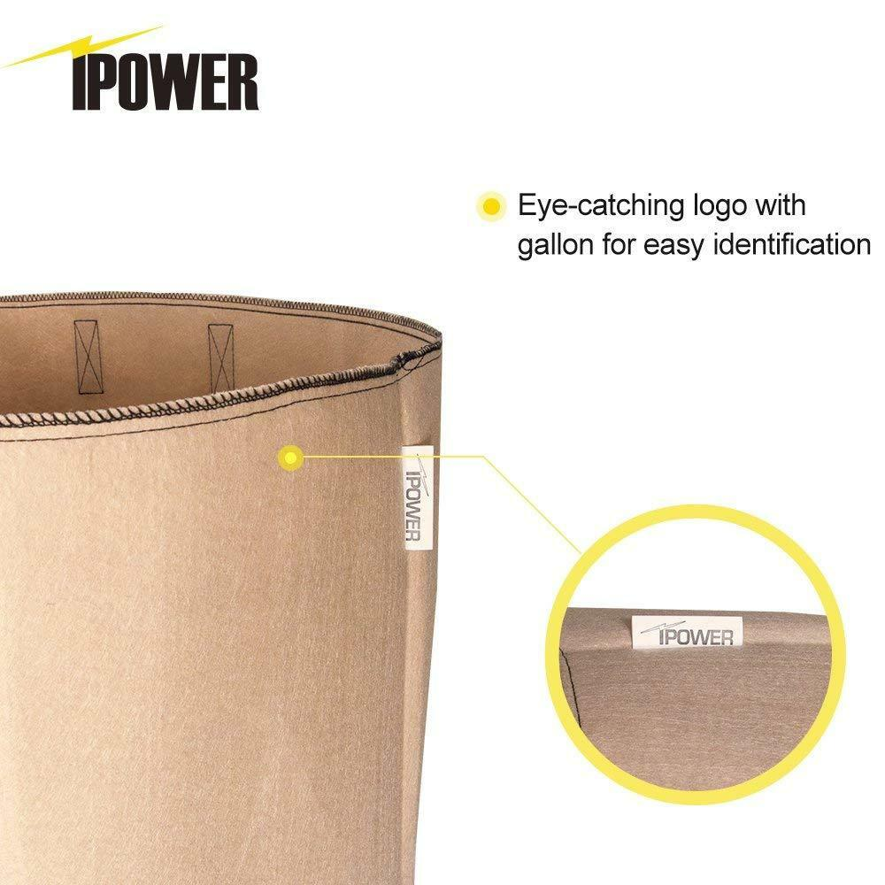 iPower 20 Gallon 10 Packs Fabric Aeration Plant Pots Grow Bags with Handles