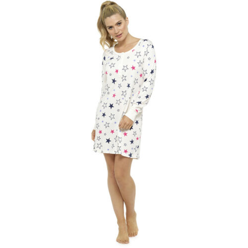 Ladies Long Sleeve Night Shirt Nightdress Nightie Nightshirt PJ pyjamas