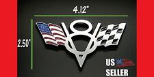 V8 AMERICAN FLAG CHECKER FLAG EMBLEM STICKER DECAL FOR GM FORD CHEVY REAL METAL