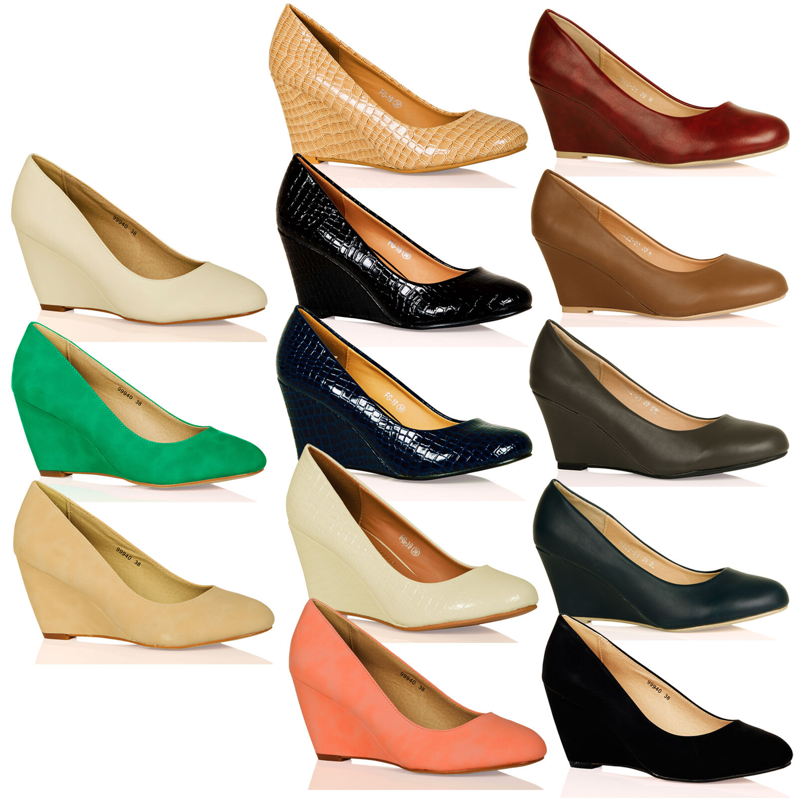 WOMENS SHOES LADIES SLIP ONS WEDGES MID HIGH HEELS SMART WORK OFFICE COURT SIZE