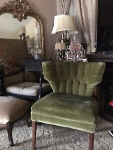 Image Is Loading Vintage Velvet Club Chair Hollywood Regency Mid Century