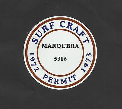 """/""""FRESHWATER 1972-1973 SURFBOARD SURF CRAFT PERMIT/"""" Sticker Decal SURFING"""