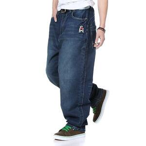 Plus-Size-Men-039-s-Jeans-Baggy-Casual-Hip-Hop-Pants-Denim-Trouser-Embroidery-W30-46