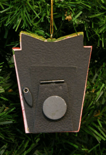 RED GLITTERED PRESENT MAGNETIC PICTURE FRAME CHRISTMAS TREE ORNAMENT