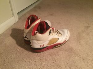 Details about Authentic Air Jordan 5 Retro WhiteFire Red Size 10.5