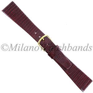 19mm-Gilden-Burgundy-Genuine-Lizard-Flat-Unstitched-Tapered-Mens-Watch-Band-Reg
