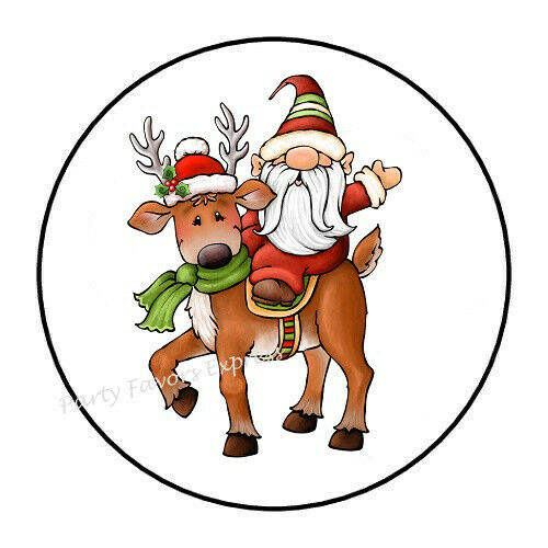 30 GNOME RIDING REINDEER CHRISTMAS ENVELOPE SEALS LABELS STICKERS FAVORS 1.5/""
