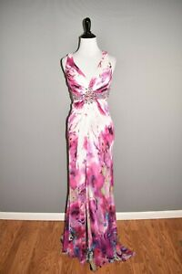 CACHE-278-Pink-Floral-Beaded-Sequin-Mini-Dress-Long-Overlay-Size-0