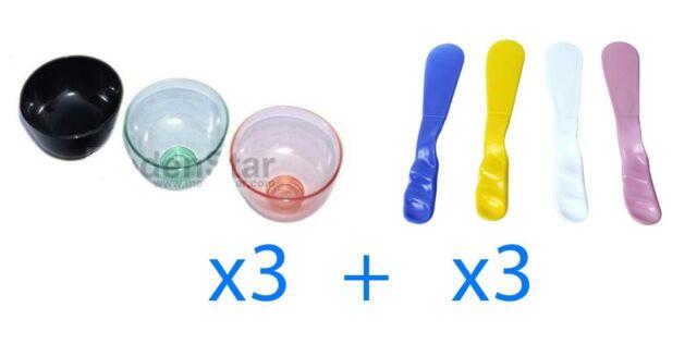 Dental Lab 3 pcs Silicone Flexible Rubber Mixing Bowl + 3 pcs Spatulas