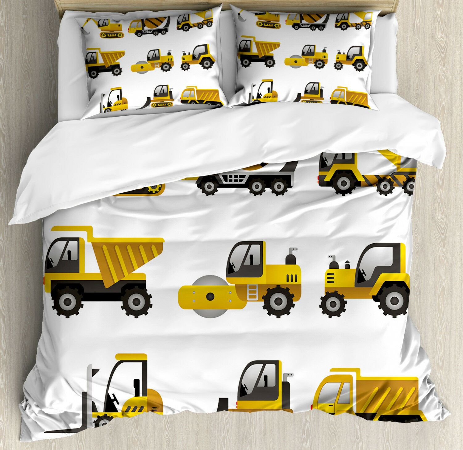 Construction Duvet Cover Set with Pillow Shams Vehicles Clip Art Print