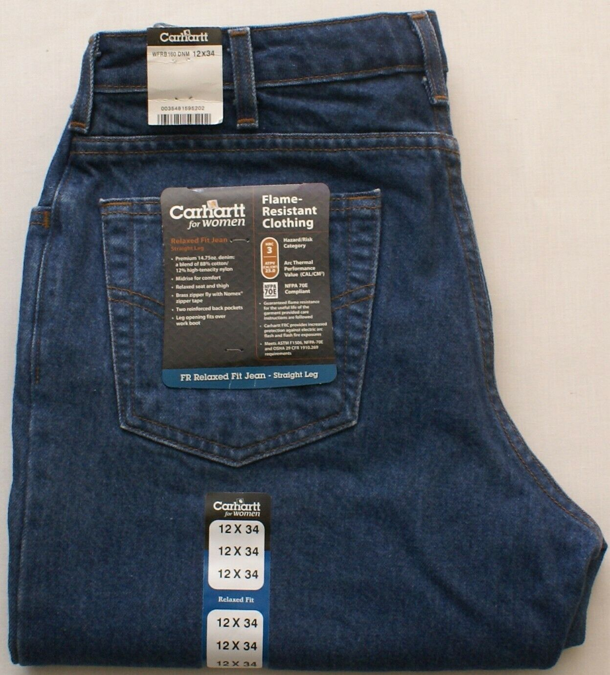 Womens Carhartt Flame Resistant FR Relaxed Fit Straight Leg Denim Jeans, 12 X 34