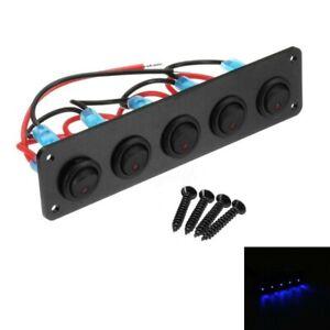 Schalterpanel 5x Schalter 12V  24V mit blauer Kontoll-LED Alu mattschwarz NEU