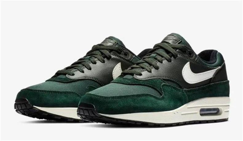 NIKE AIR MAX 1 AH8145 303 OUTDOOR GREEN SAIL WHITE BLACK - SUEDE LEATHER MESH
