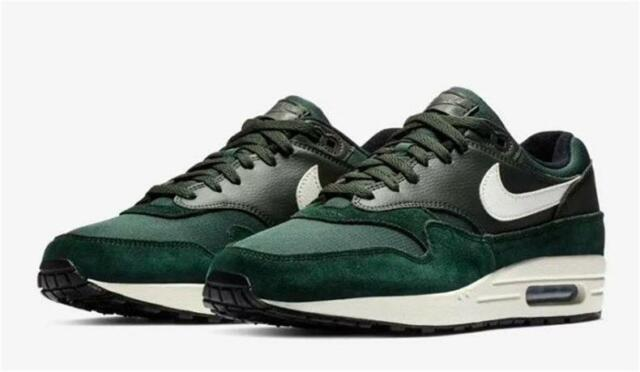 new product good service huge selection of NIKE AIR MAX 1 AH8145 303 OUTDOOR GREEN/SAIL WHITE/BLACK -  SUEDE/LEATHER/MESH