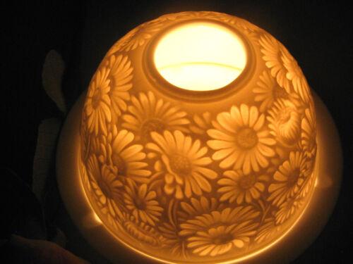 Porzellan Windlicht Lithophanie  Margeriten Gänseblümchen Bellis Teelicht Blumen